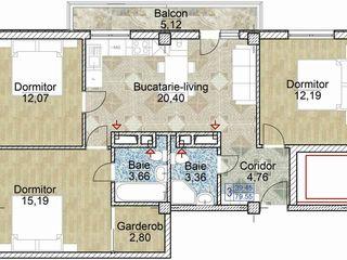Apartament cu 3 dormitoare! Proiect nou!
