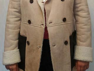 Новое, женское весеннее пальто (дублёнка), (лёгкое, не зимнее), цвет светло - бежевый, l 48-50-52