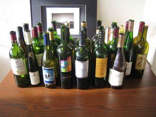 Стеклянные бутылки для вина б/у