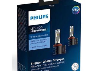 Lampi LED Philips Premium Garanție 6 Luni, H7, H8, H9, H11, H16 +200% 6200K 55W, Credit, Livrare