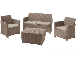 Set de mobila de grădină Allibert Corona Cushion Box S4 livrare gratuita acasa