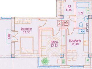 2 комнатная квартира в новом доме 50м2 = 17000 евро
