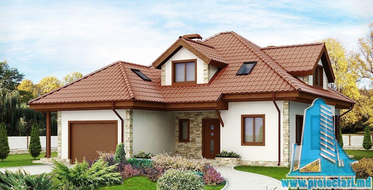 Proiect de casa cu mansarda si garaj for Proiecte case cu garaj si mansarda