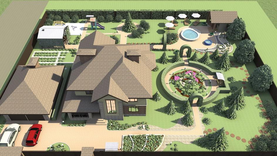 Дизайн участка 15 соток с домом баней и беседкой и