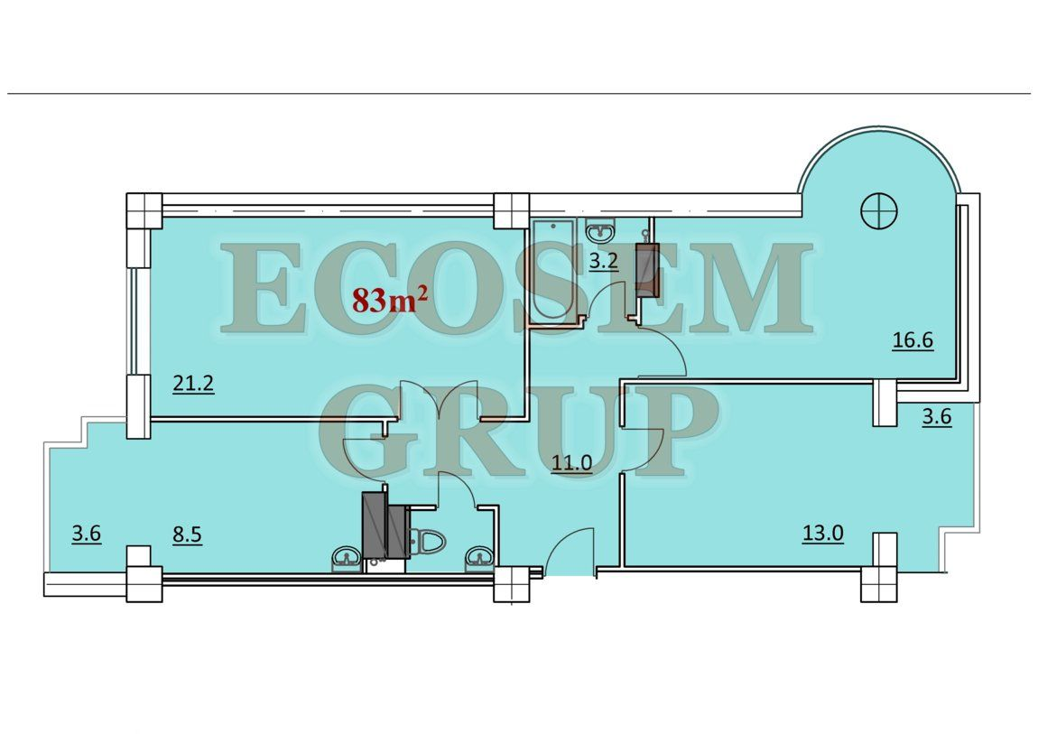 Bloc Nou Apartamente cu 3 odai 81 m2 – 85 m2 Новострой 3-x комнатные квартиры 81 m2 – 85 m2