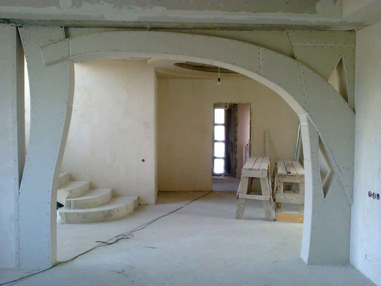 простой фигурные арки из гипсокартона фото декоративном