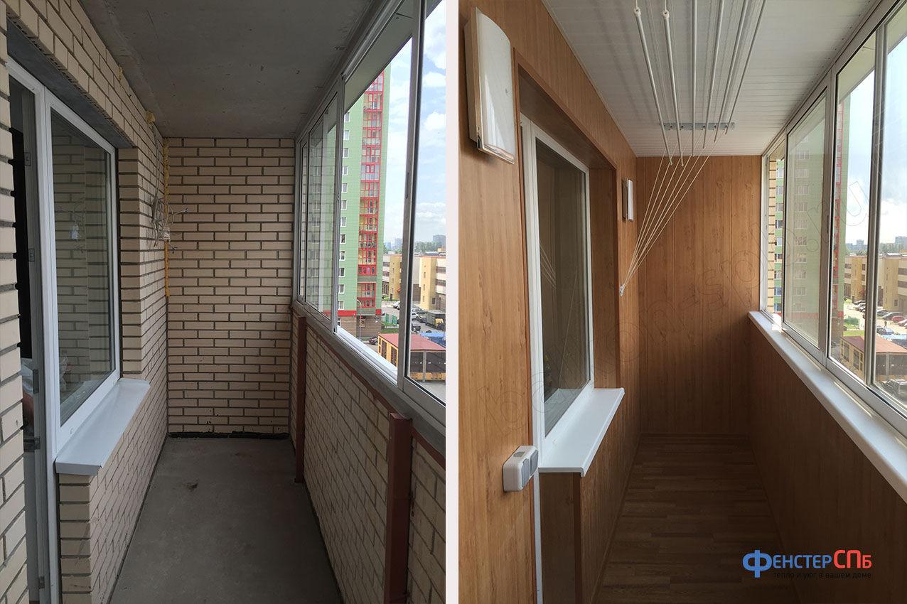 Отделать балкон внутри.