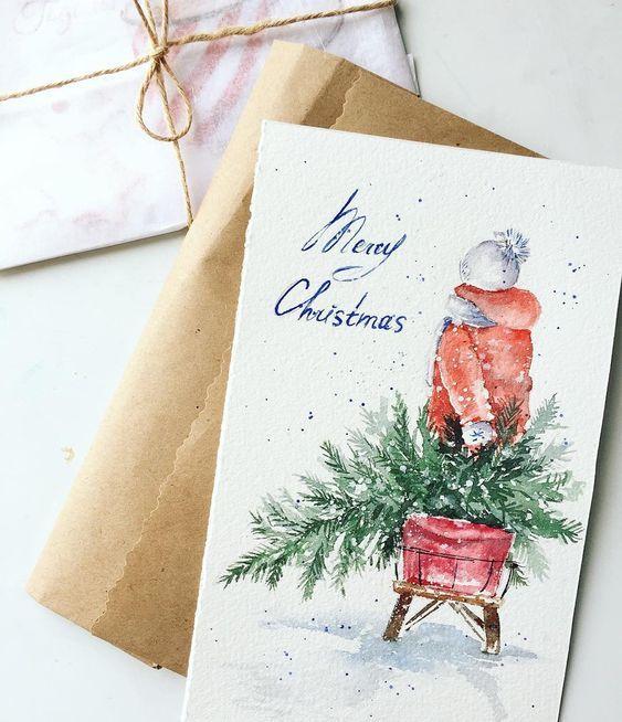Картинки, с новым годом открытки акварель