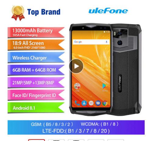Ulefone power 5 смартфон 13000 мАч 6 ГБ + 64 ГБ MTK6763 Восьмиядерный Android 8,1