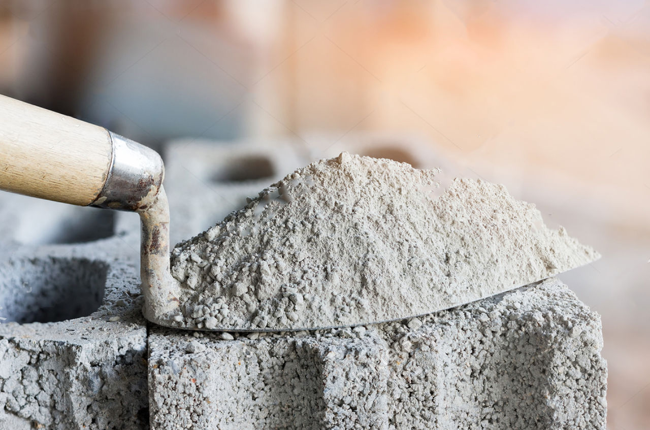 цементом