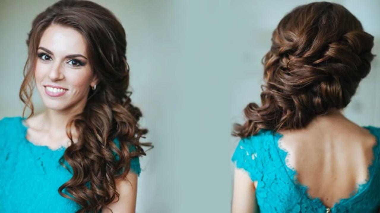 Причёски на бок с плетением на средние волосы