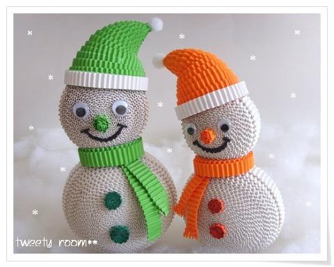 Снеговик из гофрированной бумаги своими руками