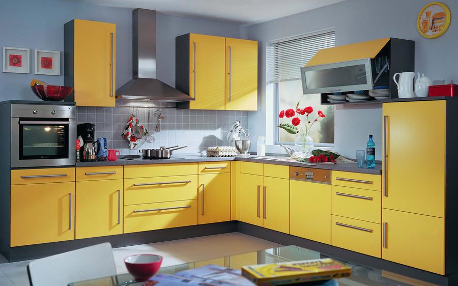 кухни желтого цвета угловые дизайн фото