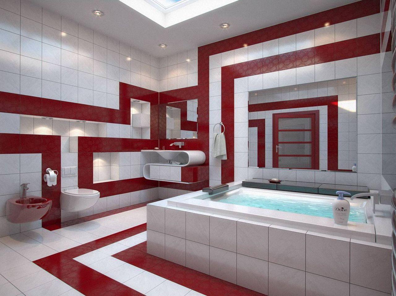 Красно черная ванная комната фото