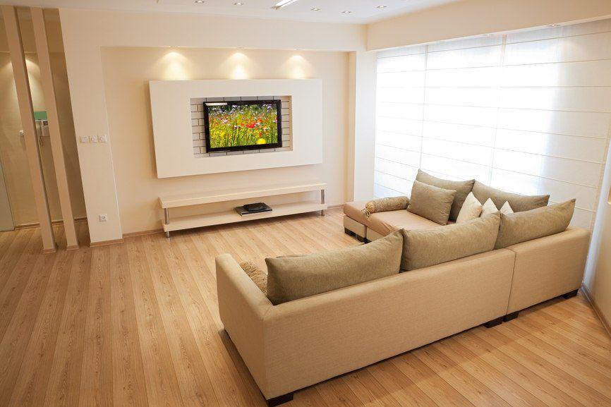Интерьер стены с телевизором из гипсокартона