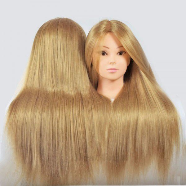 Cap De Practica Cu Par Natural 50 Blondsaten 60cmmanechin Coafat