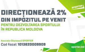 Redirecționați 2% din impozitul pe venit pentru dezvoltarea sportului RM