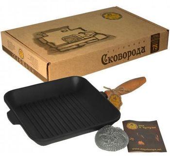 cumpără Tigaie grill din fonta cu maner lemn, 28 cm în Chișinău