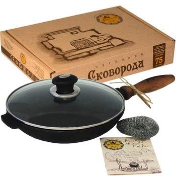 купить Сковорода чугунная с крышкой и деревянной ручкой, 24 см в Кишинёве