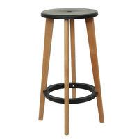 купить Барный стул из пластика , деревянные ножки 410x680 мм, черный в Кишинёве