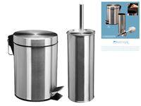 Набор для ванной (ведро для мусора+ерш), металл