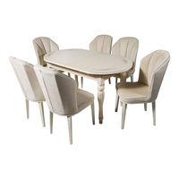 Комплект раздвижных столов DT A14 ivory + 6 стульев DC 6018 velour ivory