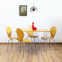 купить Комплект из стола и  четырёх стульев из дерева, металл и MDF, 1200x750xH740 мм,  коричневый в Кишинёве