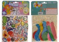 Набор шаров воздушных 12шт, разные цвета с наклейками