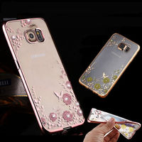 Flowers TPU case Samsung S7, pink