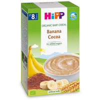 Hipp каша органические злаки безмолочная банан и какао, 8+мес. 200гр