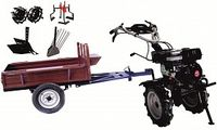 Набор мотоблок TECHNOWORKER HB 700RS ECO+Прицеп RK500 + плуг регулируемый + плуг картофель + металлические колеса 4*8 + мотыга