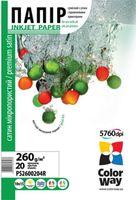 ColorWay Бумага фото COLORWAY Premium 10x15cm 260г/м2/20 атласная микропоры