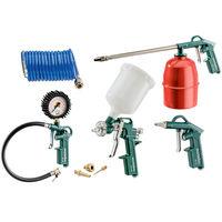 Набор пневмоинструментов Metabo LPZ 7 Set  включает в себя 4 инструмента и спиральный шланг.