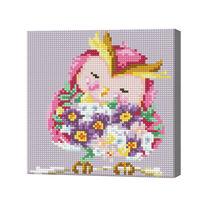 Розовая сова с букетом, 20x20 см, алмазная мозаика