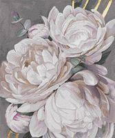 Картина по номерам 50x65 см Белый пион с золотой краской 13115