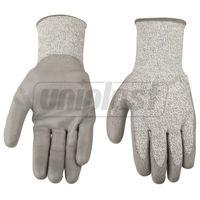 """Перчатки с полиуретановым покрытием, защита от порезов (level 5) 10""""  - серый TOLSEN"""
