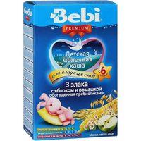 Bebi Premium каша из 3 злаков молочная с яблоком и ромашкой, 6+мес. 200г