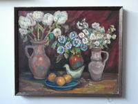 Белые цветы, 60x73 см, холст, масло
