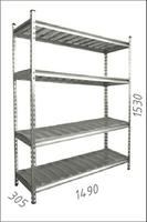 купить Стеллаж оцинкованный металлический  Gama Box 1490Wx305Dx1530H мм, 4 полки/МРВ в Кишинёве