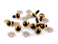 Ochi pentru jucării cu dispozitiv de siguranță, Ø14 mm / galben