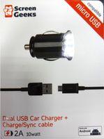 Зарядное устройство сетевое Screen Geeks Auto 2A dual USB 10 Watt, negru (KV-01)