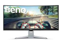 "35.0"" BenQ ""EX3501R"", Black (VA-Curved 3440x1440, 100Hz, 4ms, 300cd, HDR+DCR20M:1, DP+HDMI+USB, HAS) (35.0"" Curved-VA W-LED, 3440x1440 UWQHD, 4ms GTG, 300 cd/m², HDR + DCR 20 Mln:1 (2500:1), 100% sRGB Color, DisplayPort 1.4 + HDMI 2.0 x2 + USB-C 3.1, Headphone-Out, Built-in speakers 5W x2, USB 3.0x2Hub, External Power Adapter, HAS 60mm, Tilt -5/+20°, MultiView PIP/PBP mode, 2x devices; Curved display 1800R, Bright Intelligence Plus with ambient light sensor, Flicker-free Technology, Low Blue Light, AMA, FreeSync, Edge-to-Edge Ultra-Slim Bezel Design, Black/Gray-Chrome)"