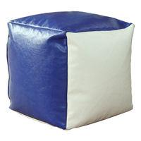 Puf suport Cub, alb/albastru
