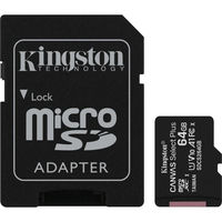64GB microSD Class10 A1 UHS-I + SD adapter  Kingston Canvas Select Plus, 600x, Up to: 100MB/s