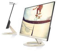 "27.0"" ASUS ""VZ27AQ"", Gold (IPS, 2560x1440, 5ms, 250cd, LED100M:1, D-Sub+HDMI+DP, Speakers) (27.0"" IPS : W-LED, 2560x1440 WQHD, 5ms (GTG), 250 cd/m², DCR 100mln:1, 16.7M, 178°/178° @C/R>10, HDMI + D-Sub + DisplayPort, Stereo Audio-In, HDMI Audio-In, Headphone-Out, Built-in speakers, External Power Adapter, Fixed Stand (Tilt -5/+22°), Icicle gold,  - Stylish ultra-slim profile is only 7mm thin;  - Frameless design suitable for multi-display use;  - IPS technology with stunningly wide 178° viewing angles;  - ASUS Eye Care, Flicker-free and Low Blue Light technologies )"