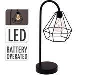 Лампа настольная на батарейках ААА H38cm (10 LED), металл, ч
