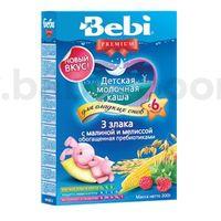Bebi молочная ночная каша Premium 3 злака с малиной и мелиссой 200gr.(6+)