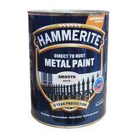 Hammerite Краска для металла Белая гладкая 5л