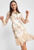 Платье ORSAY Бежевый в цветочек 442156