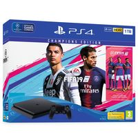 Game Console Sony PlayStation 4 Slim 1TB Black, 1 x Gamepad (Dualshock V2) Champions Edition FIFA 2019